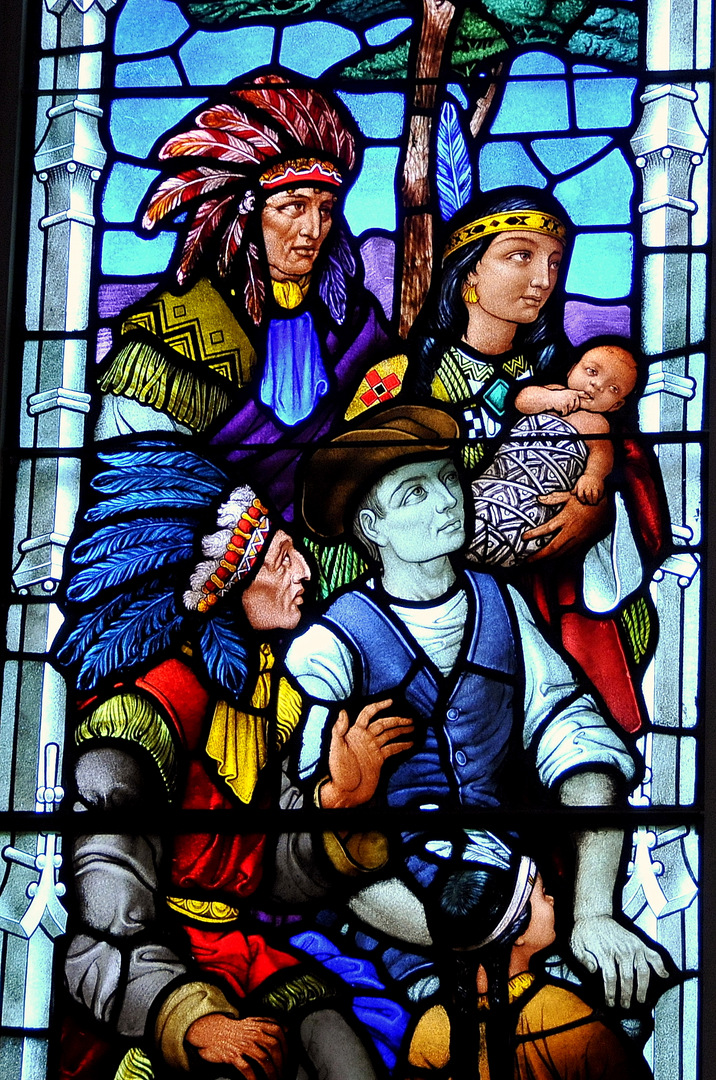 First Nations Family and Metis Boatman, Western Art Glass, c. 1975