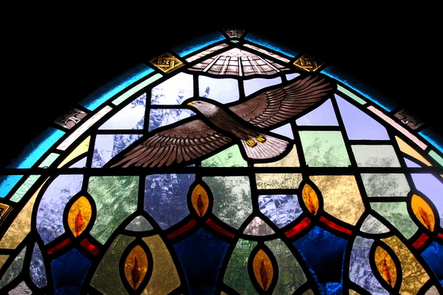 Eagle Over Flaming Figures. Anglican church, Ladysmith BC
