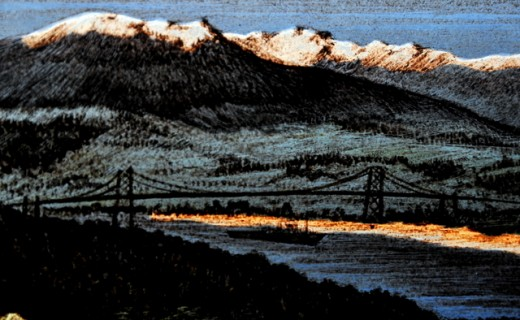 Lions Gate Bridge in Christ Church,, Vancouver (detail)