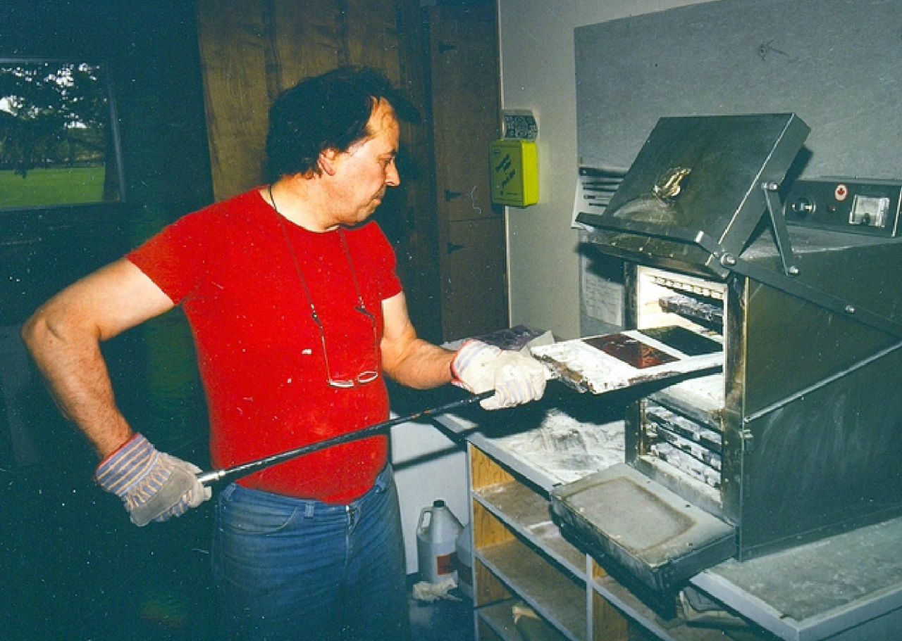 David Johnson at the kiln c. 1990