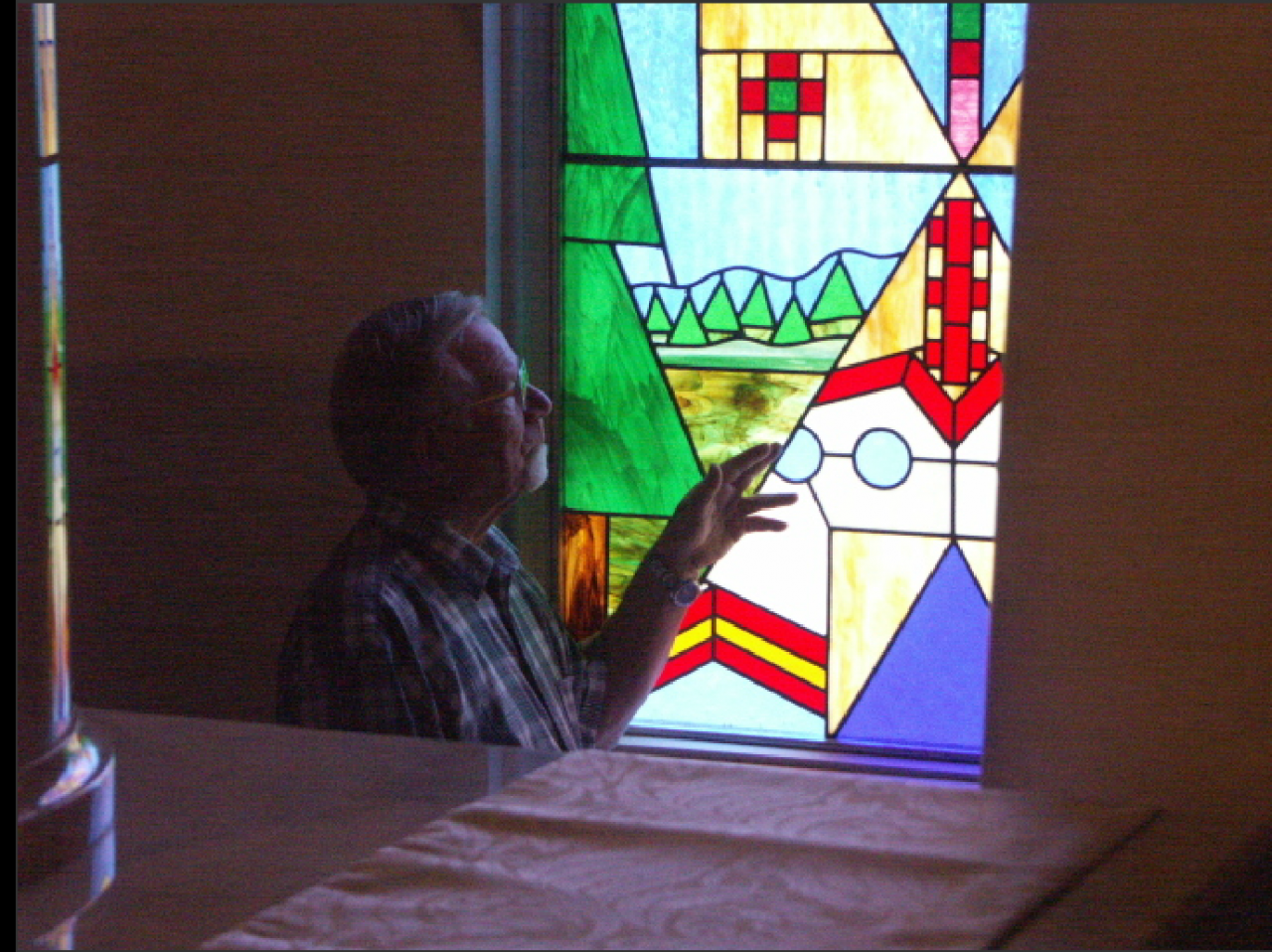 Fr. Herve Valle with his Tipi Window