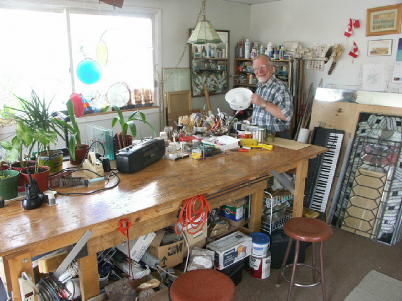Fr. Hervé Vallée in his studio, 2005